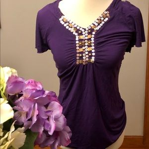 Tops - Purple short sleeved w sequins shirt size M